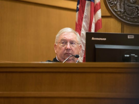 Retired Dane County Circuit Judge Daniel Moeser hears arguments on Feb. 14, 2017 in the case of Richard Beranek, who is seeking a new trial after DNA testing excluded him from key evidence in a 1987 sexual assault. The FBI also has acknowledged its analysis of the hair that had purportedly linked Beranek to the attack was scientifically invalid. He is serving a 243-year sentence.