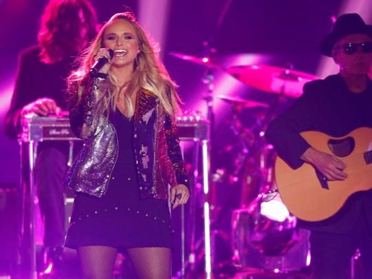 """Miranda Lambert performs """"Pink Sunglasses"""" at the CMT Music Awards at Music City Center on Wednesday, June 7, 2017, in Nashville, Tenn. (Photo by Wade Payne/Invision/AP)"""