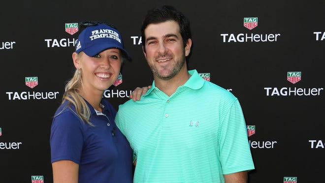 """Pro golfer Jessica Korda (L) and Johnny DelPrete (R) attend Tag Heuer And Golf Digest Host """"The Jessica Korda Mall Challenge"""" at Miami Design District Palm Court on January 16, 2016 in Miami, Florida.  (Photo by Alexander Tamargo/Getty Images for Tag Heuer)"""