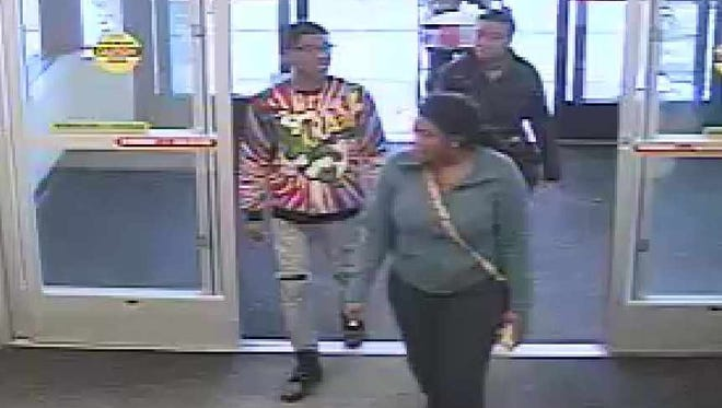Police are looking for three suspects (pictured) who they say stole a sewing machine from the Menomonee Falls JoAnn Fabric and Craft Store on Feb. 28.