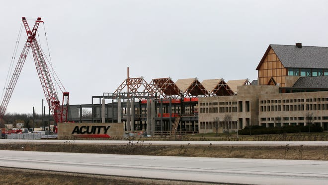 Acuity's expansion to its Sheboygan campus continues to progress Wednesday March 16, 2016.