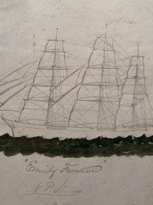 A sketch by sea captain Nathan Parker Simes of the Portsmouth-built Emily Farnum is included in the Simes' logbooks (1853-1872), recently donated by a namesake descendant to the Portsmouth Athenaeum.