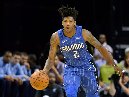 FILE - In this Monday, Oct. 2, 2017, file photo, Orlando Magic guard Elfrid Payton (2) dribbles the ball in the first half of an NBA basketball preseason game against the Memphis Grizzlies in Memphis, Tenn. Payton had five triple doubles and averaged 13.5 points, 7.0 rebounds, 8.4 assists and 2.5 turnovers after the All-Star break last season. (AP Photo/Brandon Dill, FIle)