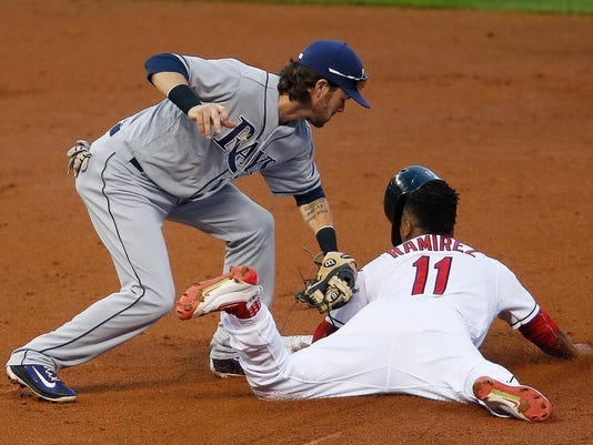 Cleveland Indians' Jose Ramirez (11) steals second base as Tampa Bay Rays' Nick Franklin applies the late tag during the first inning of a baseball game, Wednesday, June 22, 2016, in Cleveland. (AP Photo/Ron Schwane)