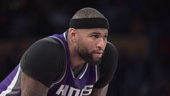 Feb 14, 2017: Sacramento Kings forward DeMarcus Cousins (15) reacts during a NBA basketball game against the Los Angeles Lakers at Staples Center. The Kings defeated the Lakers 97-96.