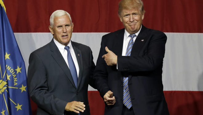 Indiana Gov. Mike Pence joined Republican presidential candidate Donald Trump at a rally in Westfield on Tuesday, July 12, 2016.