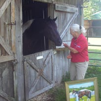 """""""Topper"""" Melinda Williams chats with a horse on her Dickson County farm."""