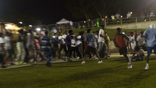 A fight breaks out at Riverfront Park in Montgomery,