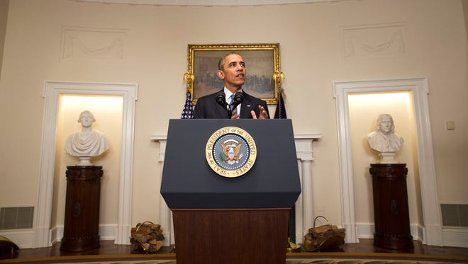 President Barack Obama speaks about the Paris climate agreement from the Cabinet Room of the White House in Washington this week.