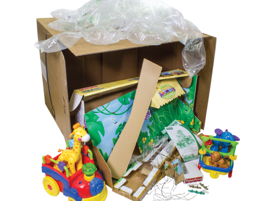 A box of Fisher-Price toys in standard wrapping meant