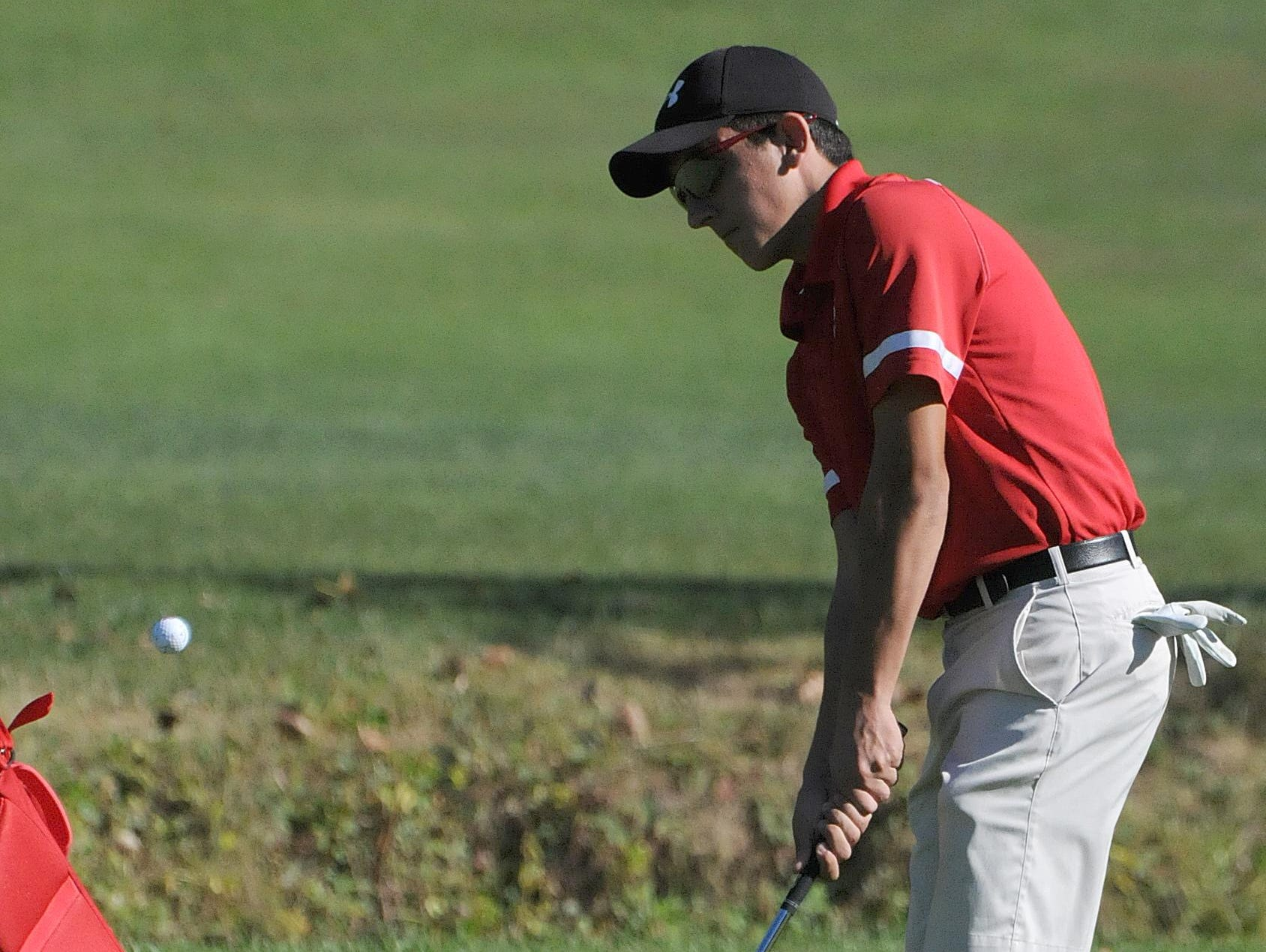 Dalton Sheaffer of Buckeye Central competes Tuesday in the Northern 10 Conference Golf Championship at Valley View Golf Course in Crestline.