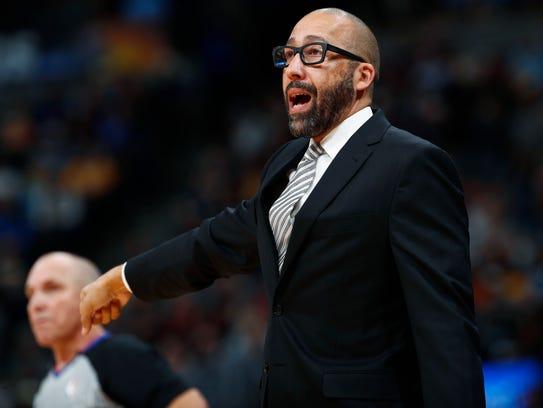 Memphis Grizzlies coach David Fizdale gestures during