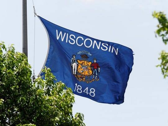 The Wisconsin state flag features the year of its founding: 1848.