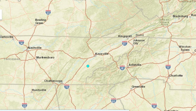 A 2.6 magnitude earthquake occurred at 12:01 a.m. on Sunday, Oct. 30, 2016, neare Vonore, Tennessee.