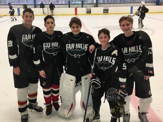 Far Hills Ice Hockey players. Cam Fernandez is fourth