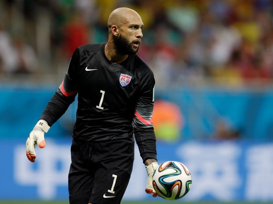 U.S. goalkeeper Tim Howard gets ready to kick the ball during a World Cup round of 16 soccer match Tuesday in Brazil.