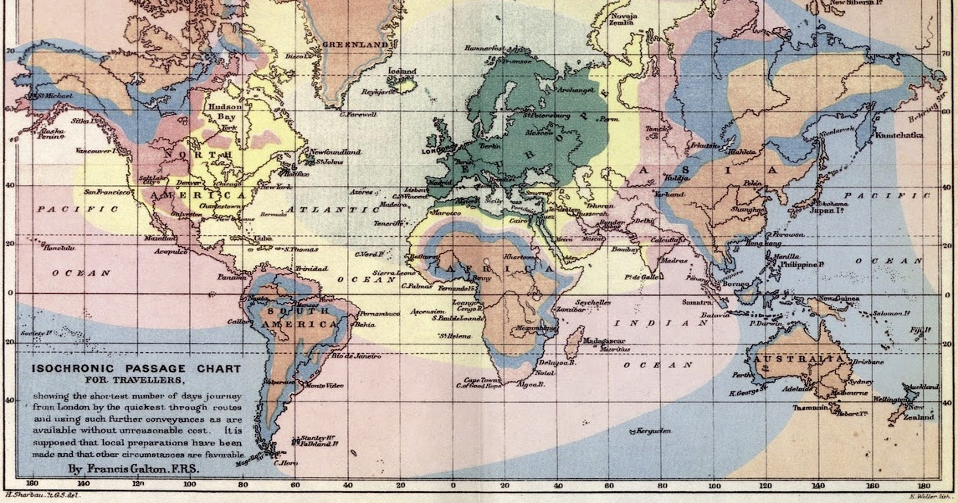 Map Shows Travel Times Around The World More Than A Century Ago