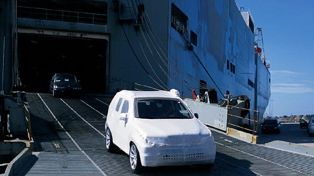 A car travels down a ramp in the north cargo area of Port Canaveral.