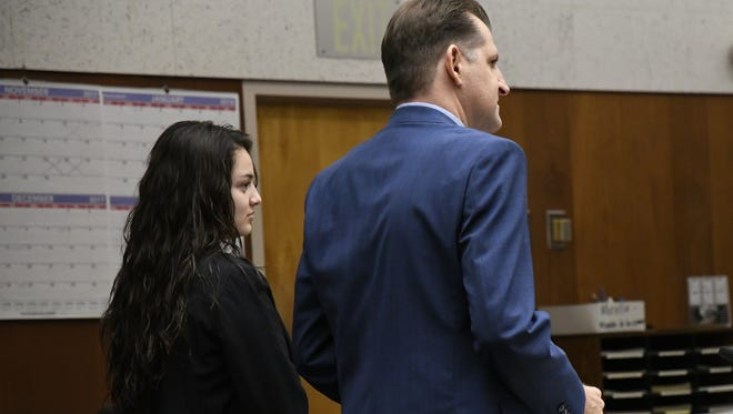 Chaylin Funez stands with her attorney Nick Schuller during her trial on Wednesday, Nov. 22.