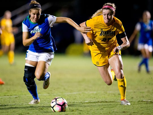 FGCU's Tabby Tindell, left, and kennesaw State's Brittney Reed battle for possession in the first half of action at FGCU Soccer Complex Friday, November 4, 2016 in Estero. FGCU would take a 1-0 into the half.