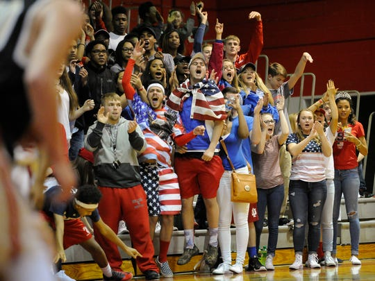 Bosse students cheer during their game against Boonville at Bosse High School in Evansville, Friday, Jan. 20, 2017.