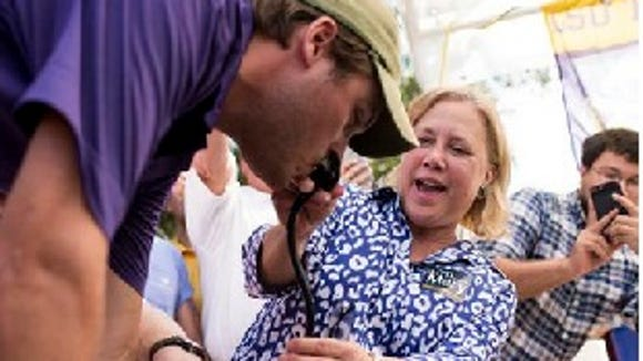 Fun at the ol' ballpark for Sen. Mary Landrieu on Saturday before the Mississippi State-LSU game.