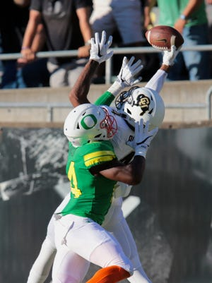 Colorado Buffaloes wide receiver Bryce Bobo hauls in a miraculous TD catch to beat Oregon.
