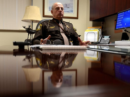 Sanilac County Sheriff Garry Biniecki talks about the new tablet program for inmates with good behavior Monday, Dec. 28, at the Sanilac County jail in Sandusky.
