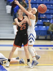 Mountain Home's Maly Tabor (right) defends Batesville's