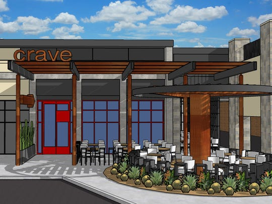 An artist rendering of what the proposed new CRAVE Restaurant will look like at completion in the Fall od 2016.