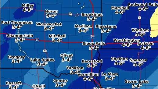 A graphic showing predicted snow amounts during this week's winter storm.