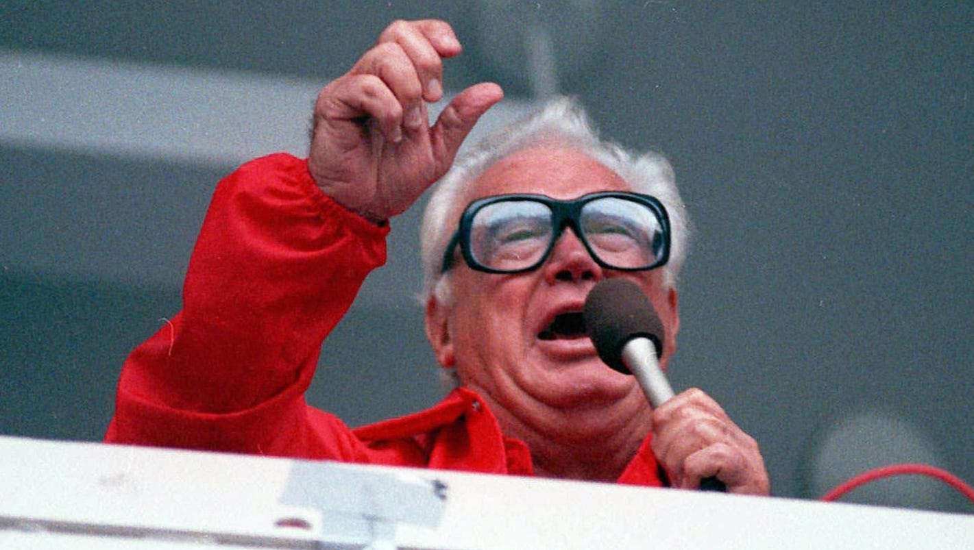 Harry Caray Drinking A Beer