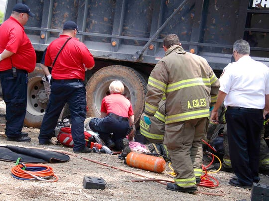 A man was crushed by a dump truck Thursday in Clarksville.