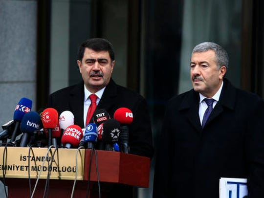 Istanbul Gov. Vasip Sahin, left, accompanied by Police Chief Mustafa Caliskan, talks to the media during a news conference regarding the arrest of a suspect of New Year's nightclub attack in Istanbul, Tuesday, Jan. 17, 2017. Police said they had caught the gunman who killed 39 people at the attack on a nightclub in Istanbul during New Year's celebrations. Sachin said it's clear that the attack was carried out on behalf of the Islamic State group.