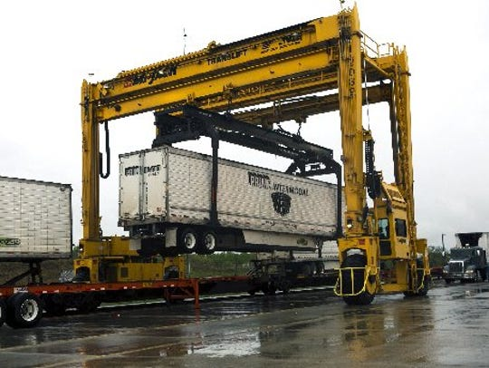 A car is lifted at the Norfolk Southern Corporation