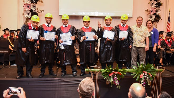 Six graduating seniors were presented their certificates and other documents after the completion of courses with the GCA Trades Academy during J.P. Torres Success Academy's second commencement exercise at the Sheraton Laguna Guam Resort in Tamuning on Thursday, May 31, 2018.