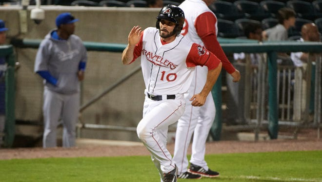 Former Sauk Rapids High School catcher Anthony Bemboom heads home during a game this season for the Arkansas Travelers in the Class AA Texas League.