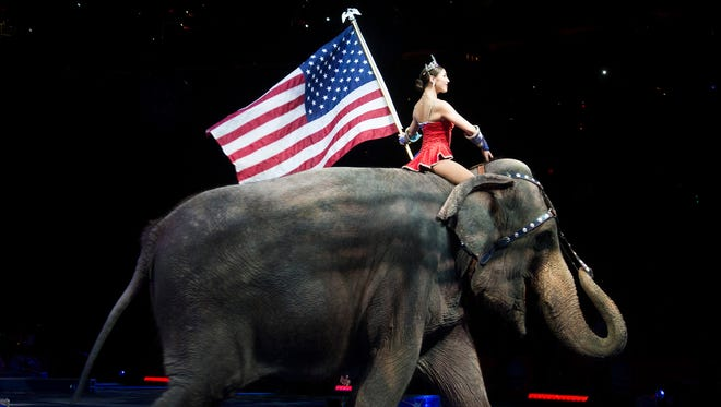 This file photo taken on March 19, 2015, shows a performer riding an elephant during a Ringling Bros. and Barnum & Bailey Circus performance in Washington.