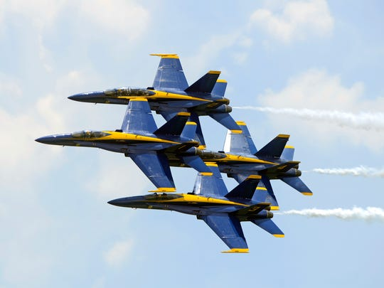 The Blue Angels perform for the crowd during the Blue Angels Air Show on July 8, 2017, at Pensacola Beach.