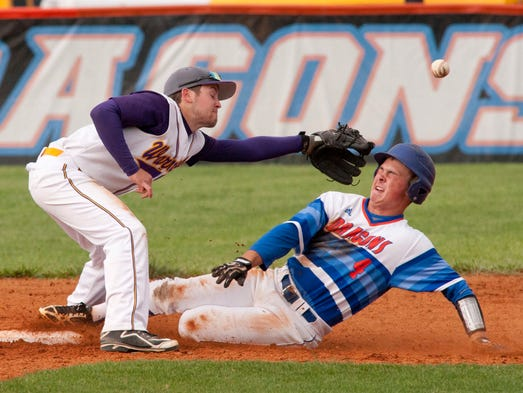 In the bottom of the 4th inning, Silver Creek Dragons' Cody Razor beats the pick-off throw to Scottsburg Warriors' 2nd baseman Caleb Satterly. Silver Creek defeated Scottsburg 7-0 to remain undefeated in the Mid-South conference of the IHSAA. 15 May 2014