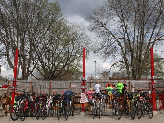 Bikers take advantage of Firetrucker Brewery's bike