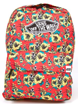 """The new Vans x """"Star Wars"""" collection features a Hawaiian-style Yoda print on backpacks and accessories."""