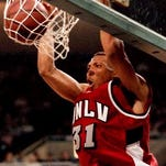 UNLV's Shawn Marion dunks during a game at Lawlor Events Center in 1998. Marion is one of the top players to ever play at Lawlor.