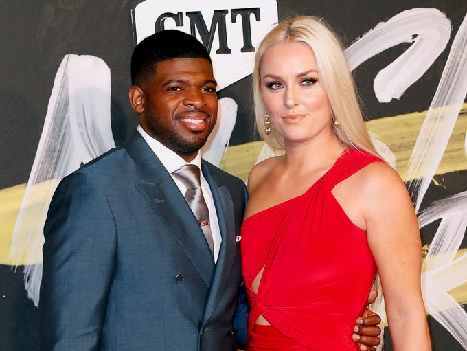 P.K. Subban (Nashville Predators) and Lindsey Vonn