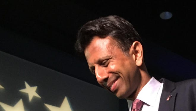 Louisiana Gov. Bobby Jindal looks to the crowd assembled at the Pontchartrain Center in Kenner Wednesday afternoon prior to announcing his candidacy for President of the United States.
