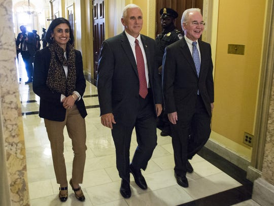 Administrator Seema Verma, Vice President Mike Pence and Secretary of Health and Human Services Tom Price leave a meeting on Capitol Hill May 3, 2017, in Washington, D.C.