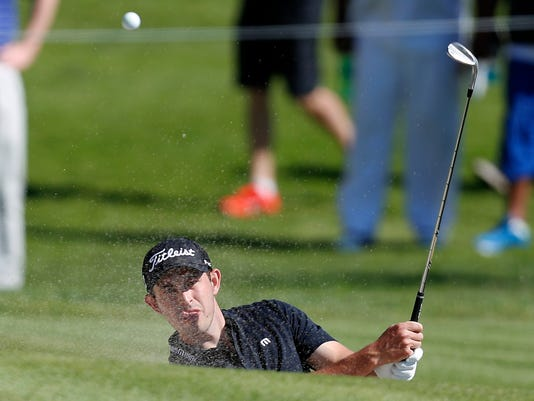 Patrick Cantlay hits out of the bunker onto the second green during the third round of the Genesis Open golf tournament at Riviera Country Club Saturday, Feb. 17, 2018, in the Pacific Palisades area of Los Angeles. (AP Photo/Ryan Kang)