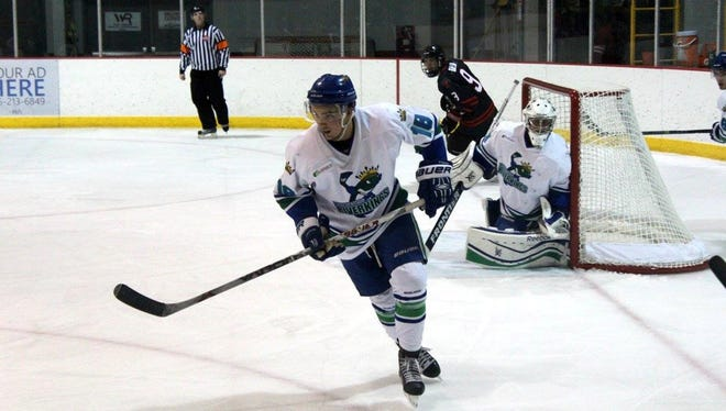 Austyn Quarters scored two goals for the Wisconsin Rapids Riverkings in weekend play against the Forest Lake Lakers. The Riverkings split the series with a 3-2 loss Friday night and a 4-0 shutout on Saturday at South Wood County Recreation Center.