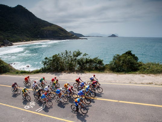 Riders in action during the men s road race c4 5 during the rio 2016