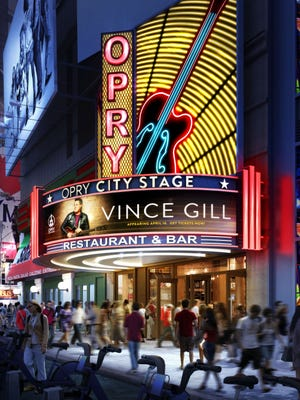 A rendering of the marquee for Ryman Hospitality's Opry City Stage in Times Square.
